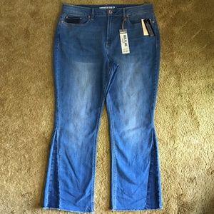 American Rag Two Tone High Rise Kick Flare Jeans